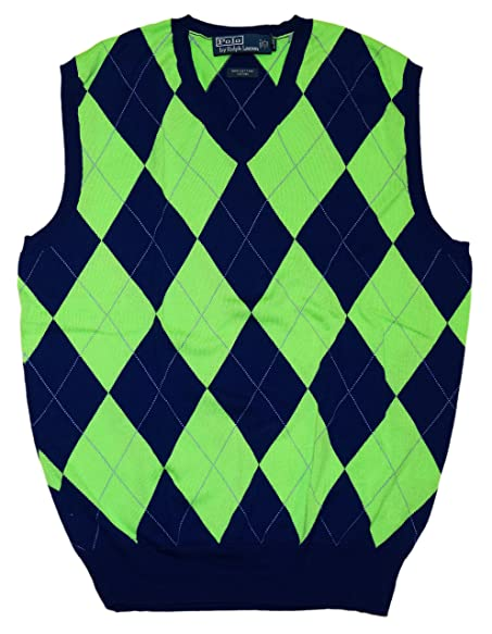 Ralph Lauren Polo Mens V-Neck Sweater Vest Argyle Navy Blue Green ...