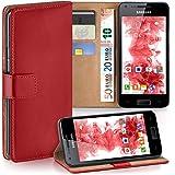 Pochette OneFlow pour Samsung Galaxy S2 / S2 Plus housse Cover avec fentes pour cartes | Flip Case étui housse téléphone portable à rabat | Pochette téléphone portable étui de protection accessoires téléphone portable protection bumper en BLAZING-RED