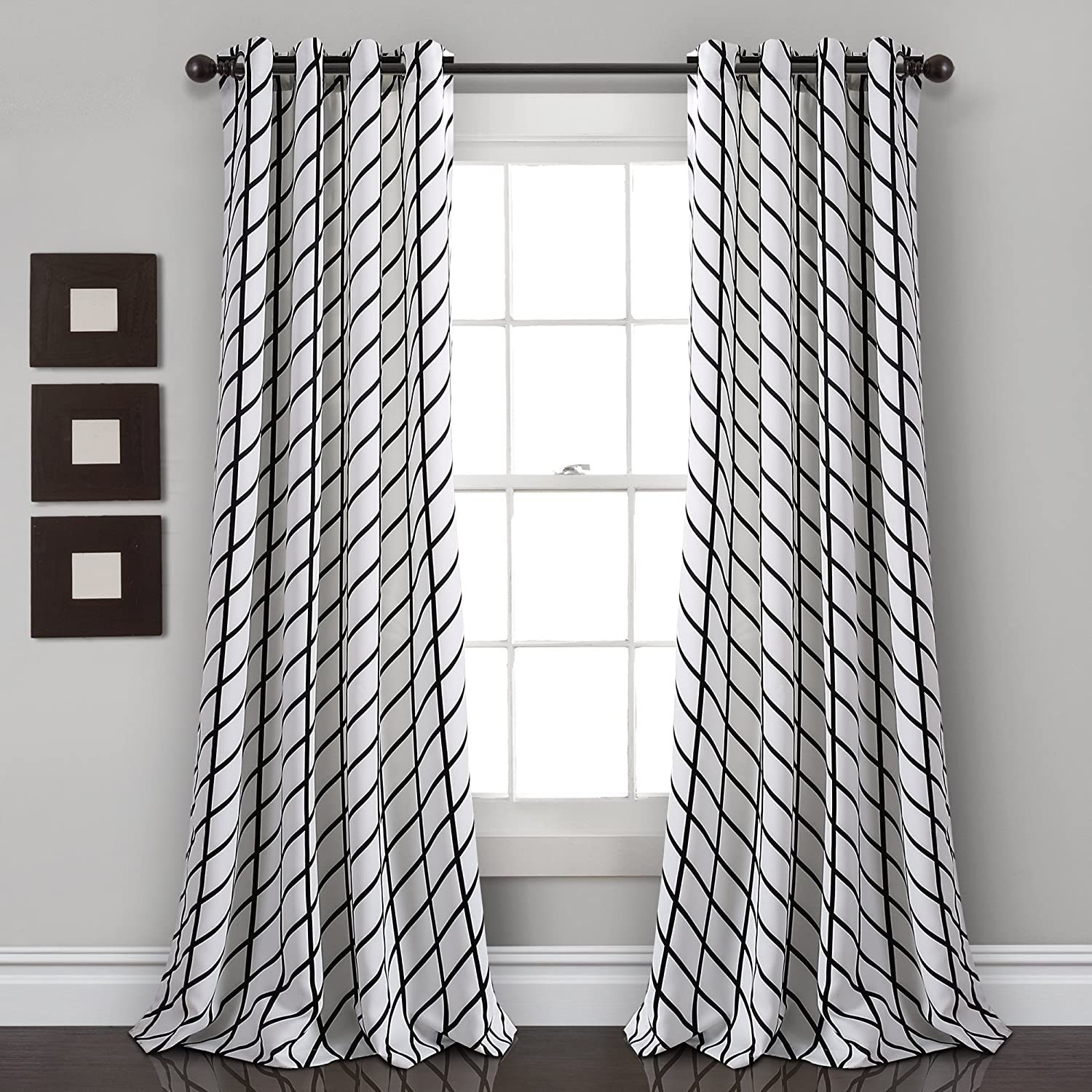 "Lush Decor Feather Arrow Geo Room-Darkening Window Curtain Set (84"" x 52""), White & Black"