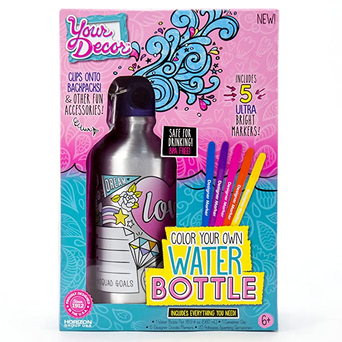Your Décor by Horizon Group USA Color Your Own Water Bottle Kit, Multi Colored