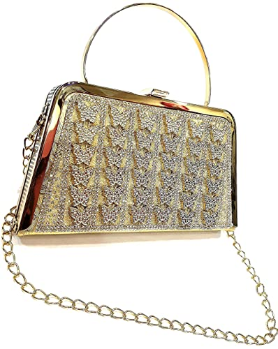 2019 original best deals on new selection GENERIC BEADED GOLDEN CLUTCH WITH HANDLE & SLING CHAIN FOR ...