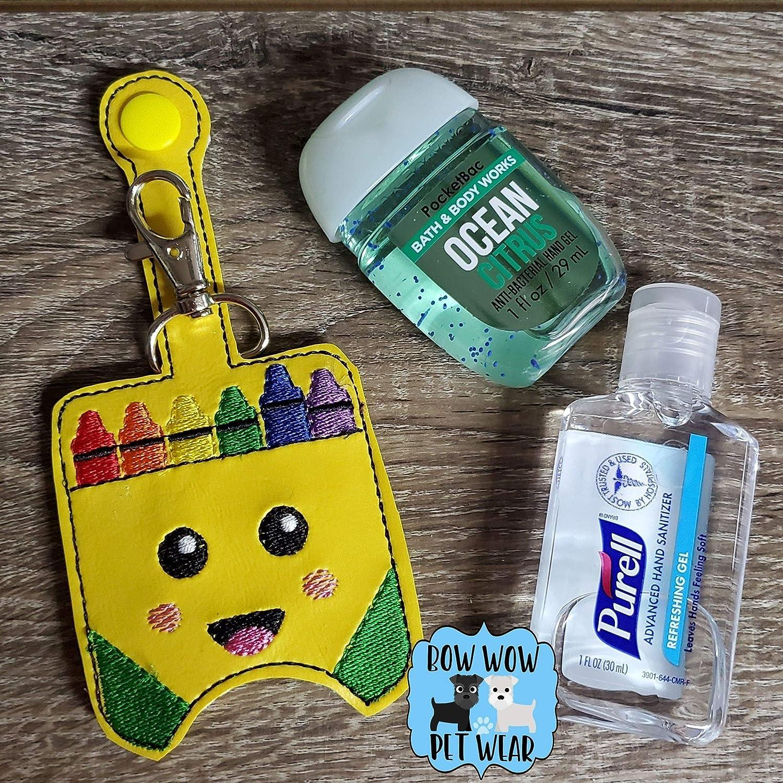 Crayon Box Hand Sanitizer Holder Key Chains Case Key Fob