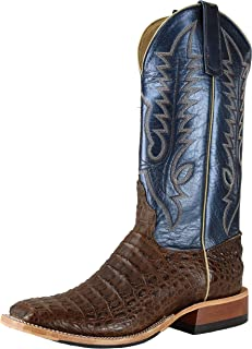 product image for Anderson Bean 321670 Men's Square Toe Regal Blue Lustre Chocolate Lux Caiman Boots