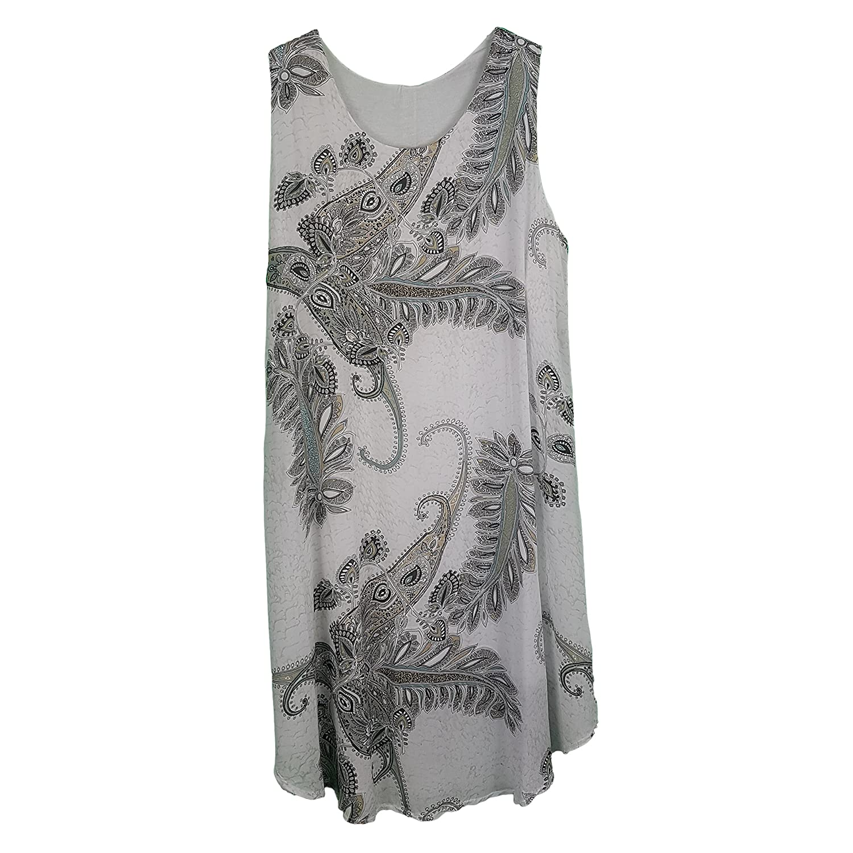 New Ladies Lagenlook White Sequin Detail tunic sleeveless top Size 14 16 18 20