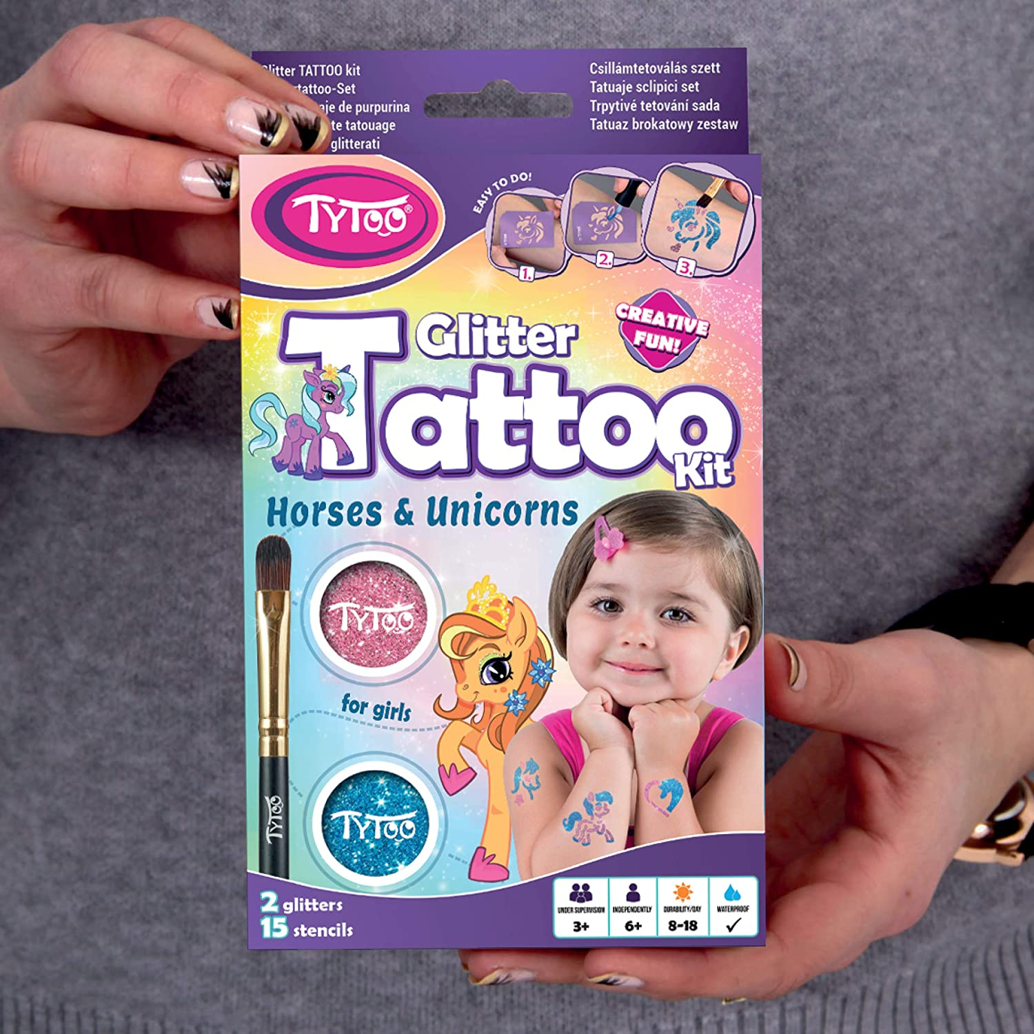 Glitter Tattoo Kit for Girls with 15 amazing Horses and Unicorns stencils 8-18 lasting temporary tattoos HYPOALLERGENIC AND CRUELTY FREE