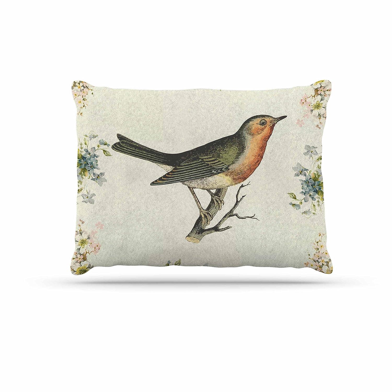 Kess InHouse NL Designs Vintage Bird 3  Tan Fleece Dog Bed, 30 by 40