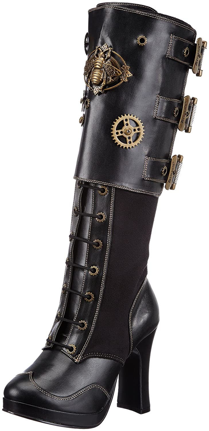 Pleaser Women's Crypto-302 Knee-High Boot B00EWC2QAY 10 B(M) US|Black Polyurethane