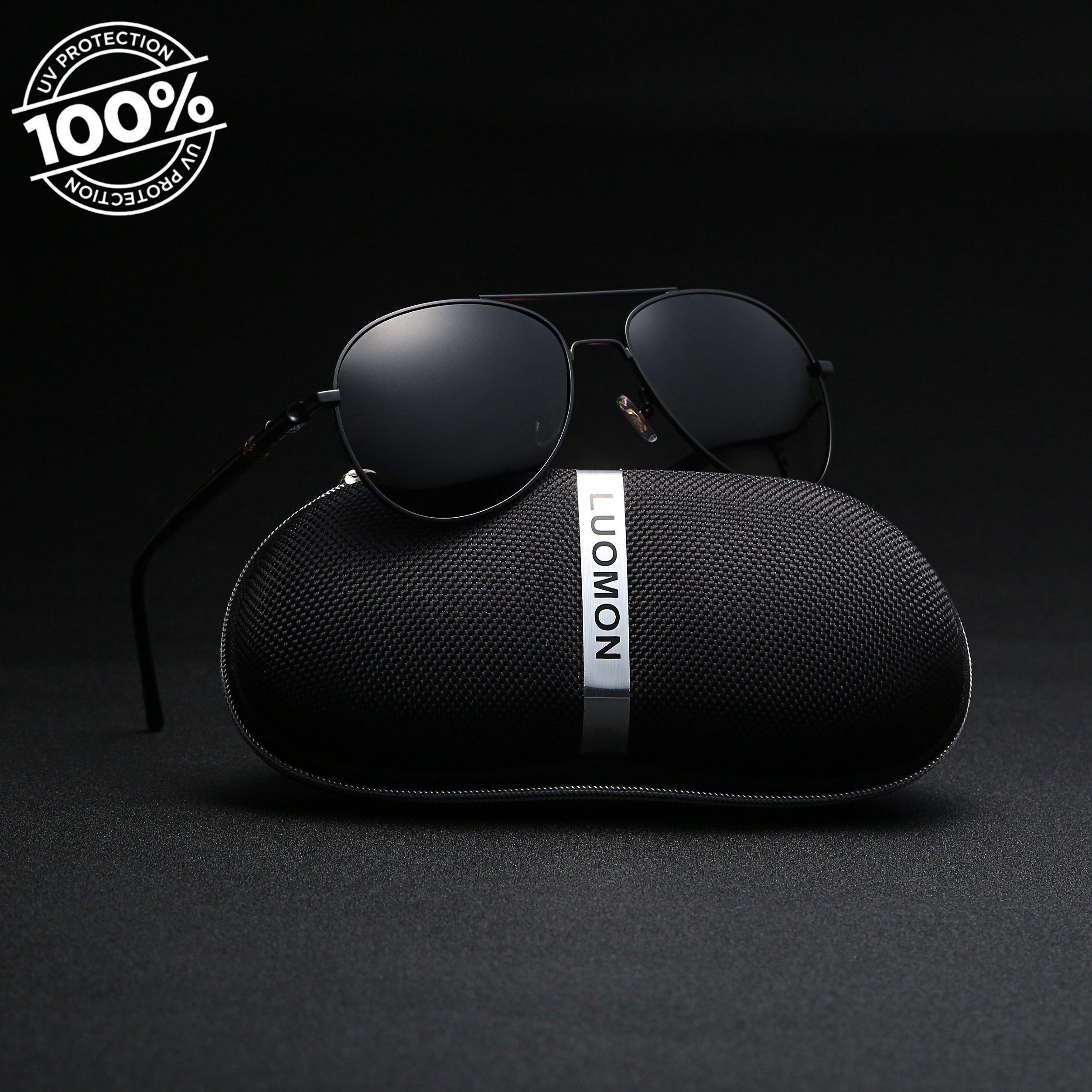 c48d3967d4 LUOMON MB209 Black Frame Grey Lens Polarized Aviator Sunglasses -  160620MB209-BLG   Sunglasses   Clothing