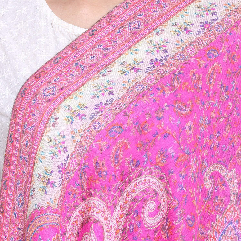 PARIJAT HANDICRAFT Handmade Antique Style Woolen Scarf Kaani Floral Woven Design Wrap Indian Outfit Women Accessories 27X70 Inch 210 Grams(Deep Pink)
