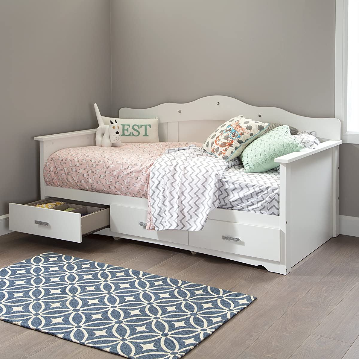 """South Shore 39"""" Tiara Daybed with Storage, Twin, Pure White"""