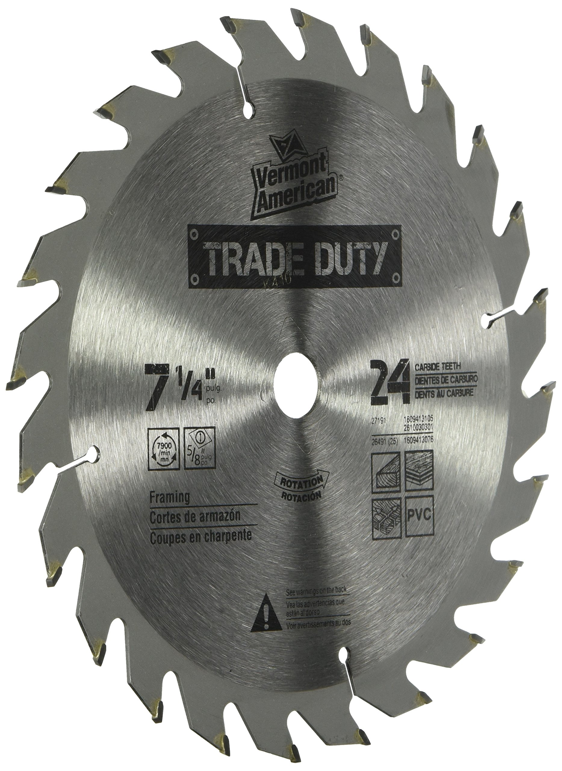 Vermont American 26491 5/8-Inch Arbor 7-1/4-Inch 24 Tooth Carbide Trade Duty Circular Saw Blade by Vermont American