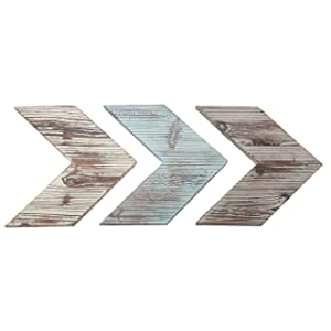 MyGift Wall-Mounted Decorative Mixed Rustic Wood Chevrons, Set of 3
