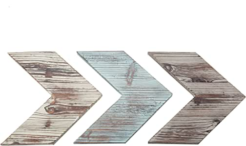 MyGift Wall-Mounted Decorative Mixed Distressed Blue & Brown Wood Chevrons, Set of 3