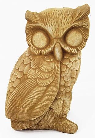 Owl Concrete Garden Statue Cement Animal Figure Cast Stone Owl Sculpture  Outdoor Bird Statuary