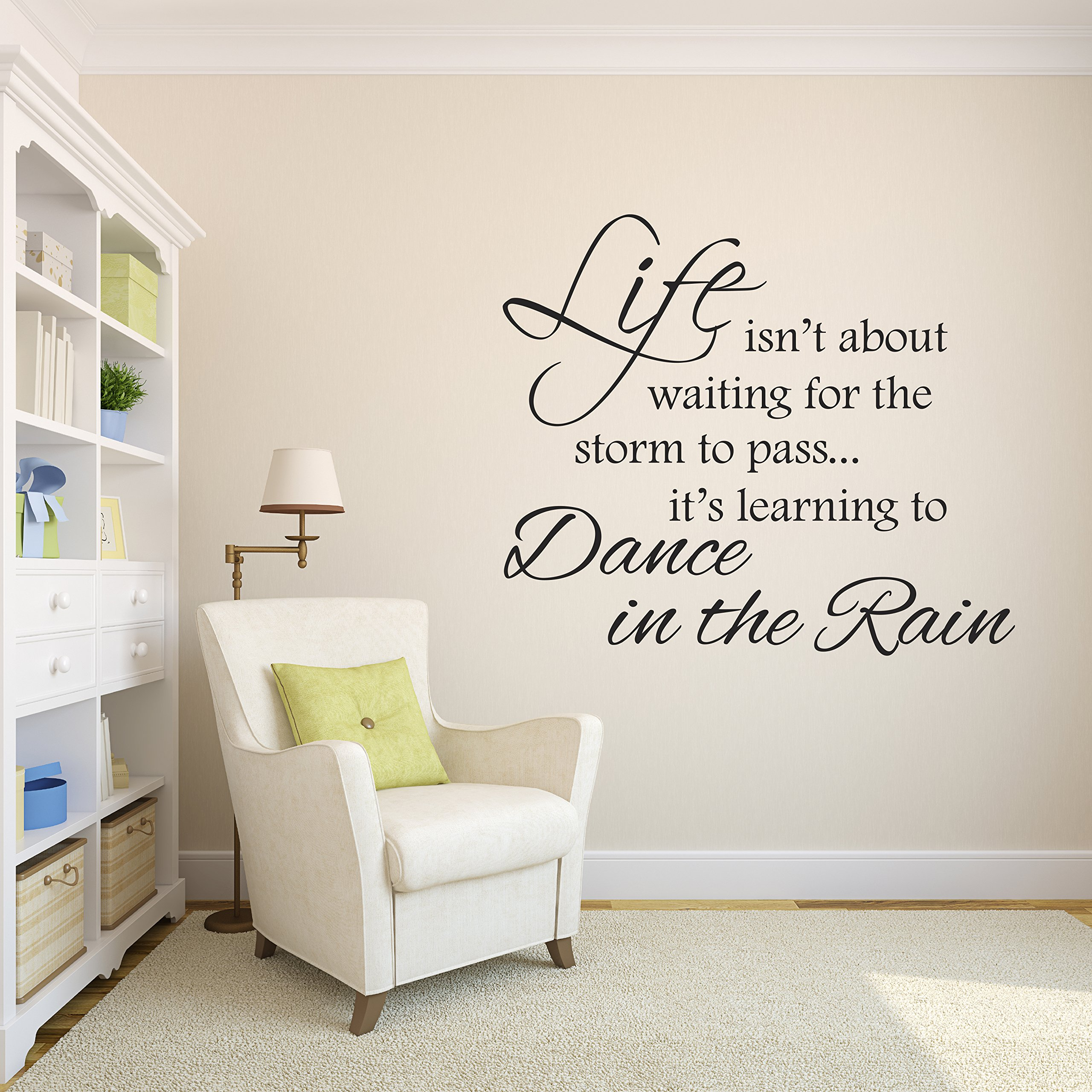 Life Isnt About Waiting for the Storm To Pass Its Learning To Dance In The Rain Vinyl Wall Decal Inspirational Quotes by Decalzone Inc