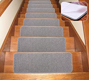 SOLOOM Carpet Stair Treads Non Slip Indoor Set of 13 Stair Rugs Covers Mats, (Grey ,25.5 9.5 Inch)