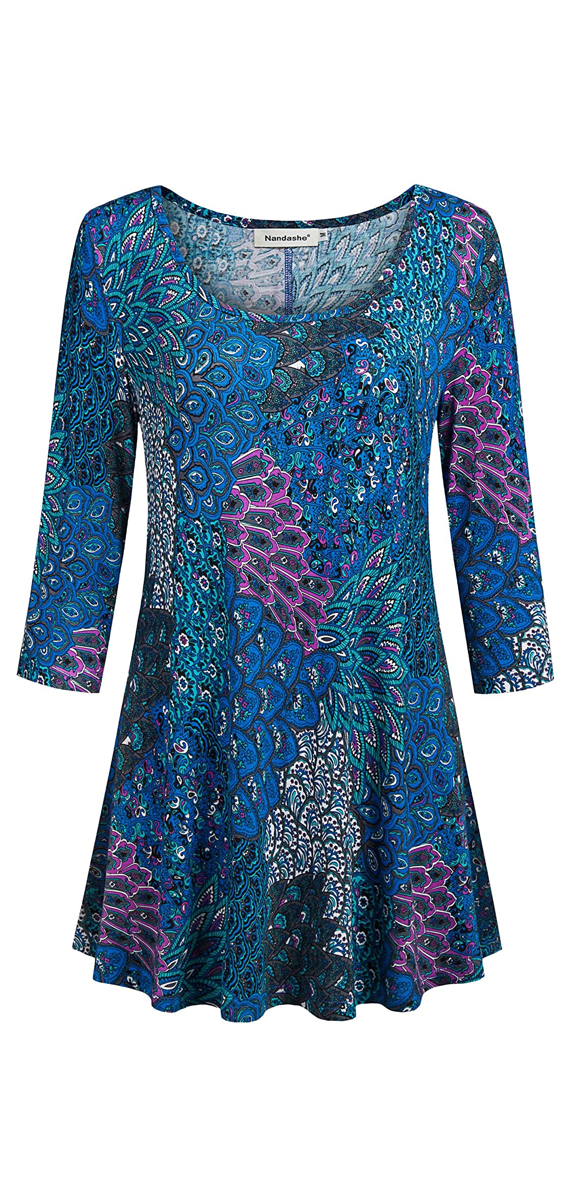 Womens / Sleeves Floral Tunic Shirts Summer Casual