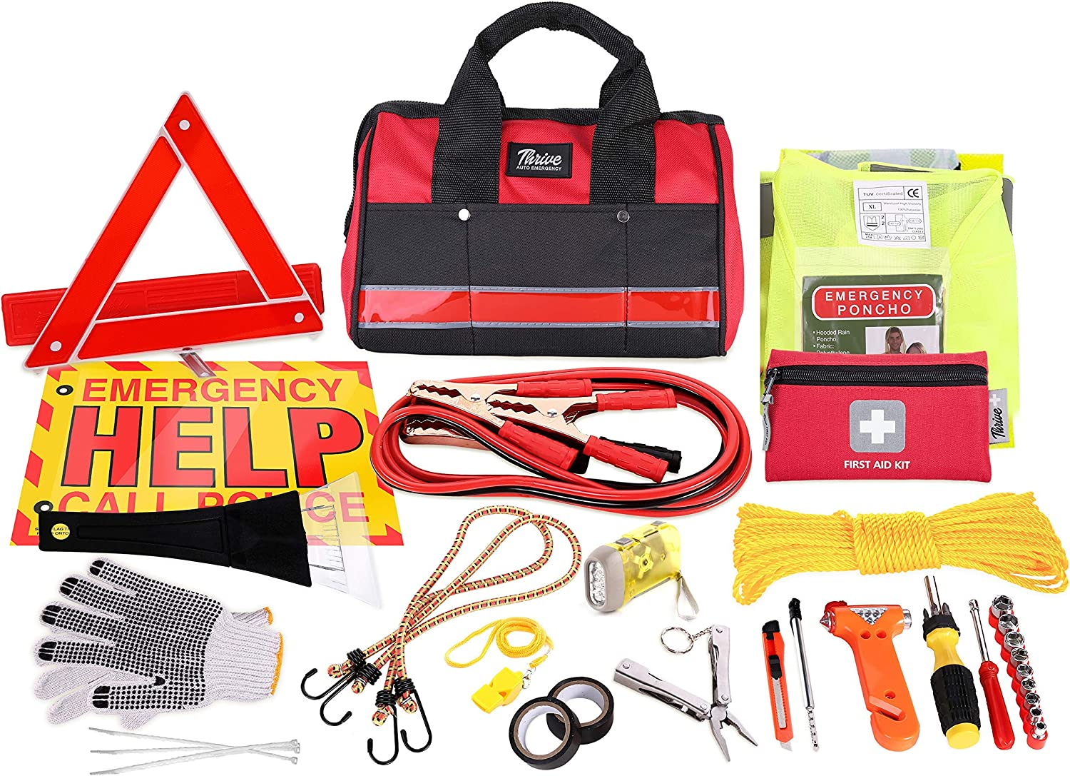 Thrive Auto Emergency Kit + First Aid Kit – Car Accessories Roadside Assistance & Survival Rugged Tool Bag with Jumper Cables, Reflective Safety Triangle and More - Cars Travel & Tow Essentials: Health & Personal Care