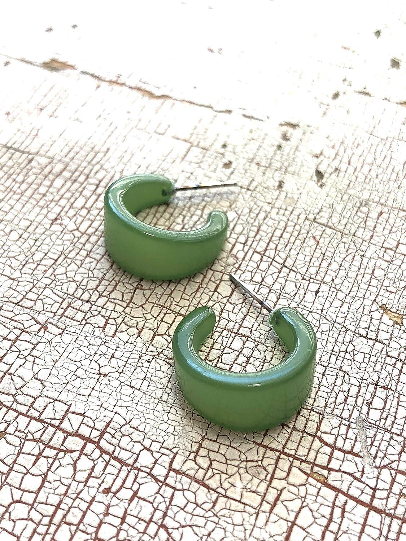Olive Green Mini Boom Moonglow Lucite Hoop Earrings