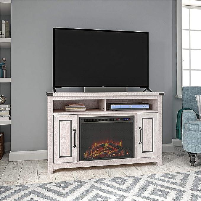 Ameriwood Home 9401855COM Chimenea de cedro Ridge 48 pulgadas, soporte de TV blanco rústico,: Amazon.es: Juguetes y juegos