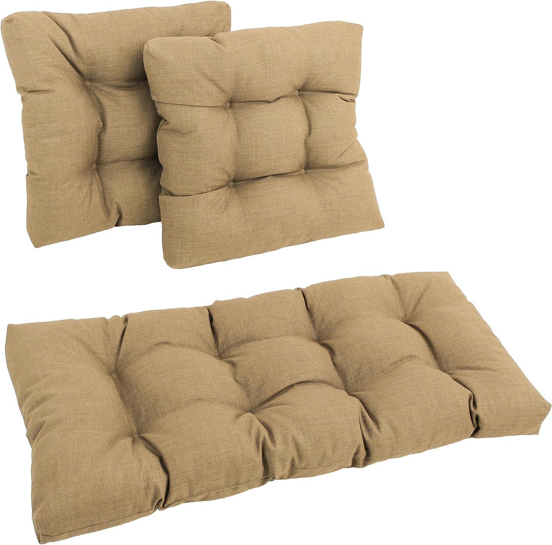Magneticspace Indoor Outdoor 3 Piece Bench Cushion Set,3 Piece Wicker Settee Cushion,1 Loveseat Cushion and 2 Backrests Patio Wicker Seat Cushions,Patio Wicker Seat Cushions Black