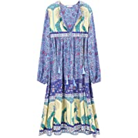 R.Vivimos Women's Casual Bohemian Print Neck Tie Long Sleeve Beach Style Long Midi Dress Vocation Dress