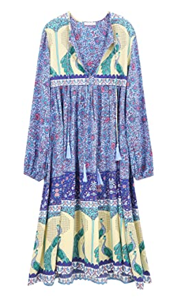 4051ababb2d R.Vivimos Women's Long Sleeve Floral Print Retro V Neck Tassel Bohemian  Midi Dresses (
