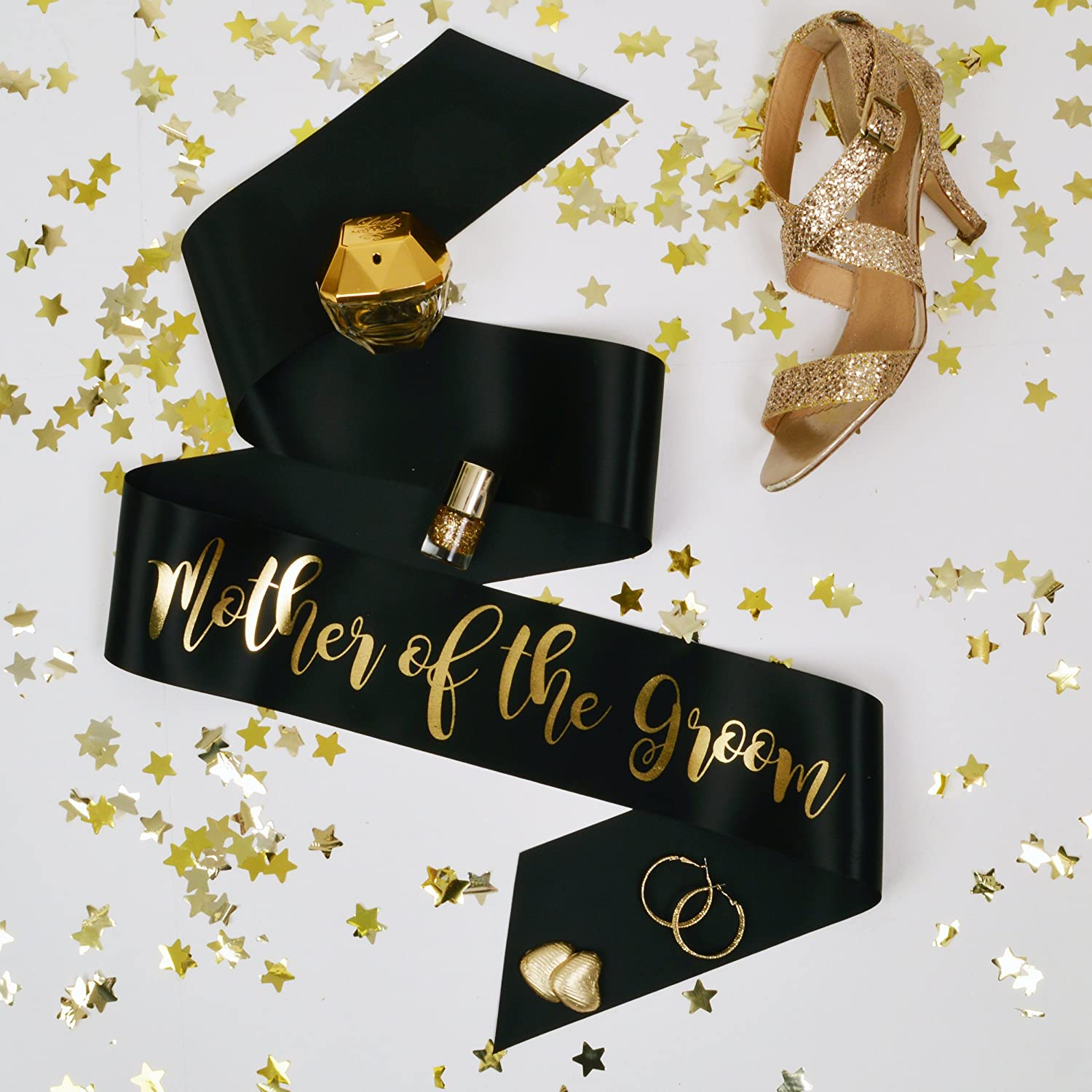 All Tied Up UK Ltd - Mother of the Groom Hen Party Sash - Black and Gold Classy Hen Party Sashes - Team Bride Hen Party Range
