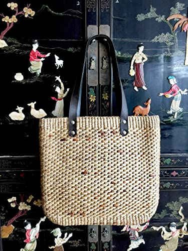 STRAW TOTE BAG Handwoven Top Handle Bag with Zipper Closure