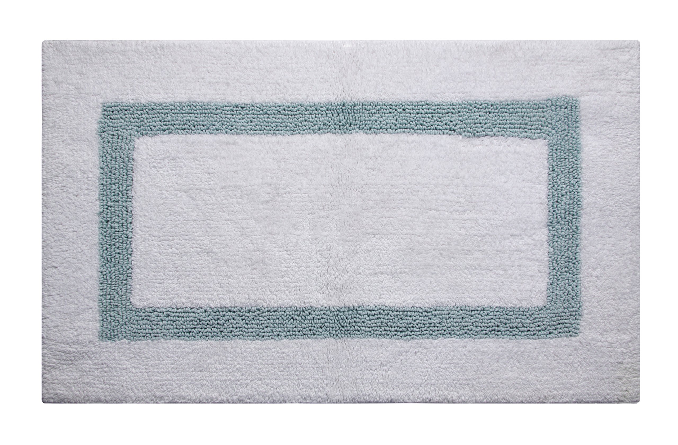 Better Trends / Pan Overseas Hotel Collection 200 GSF 100-Percent Cotton Reversible Bath Rugs, 21 by 34-Inch, White/Blue