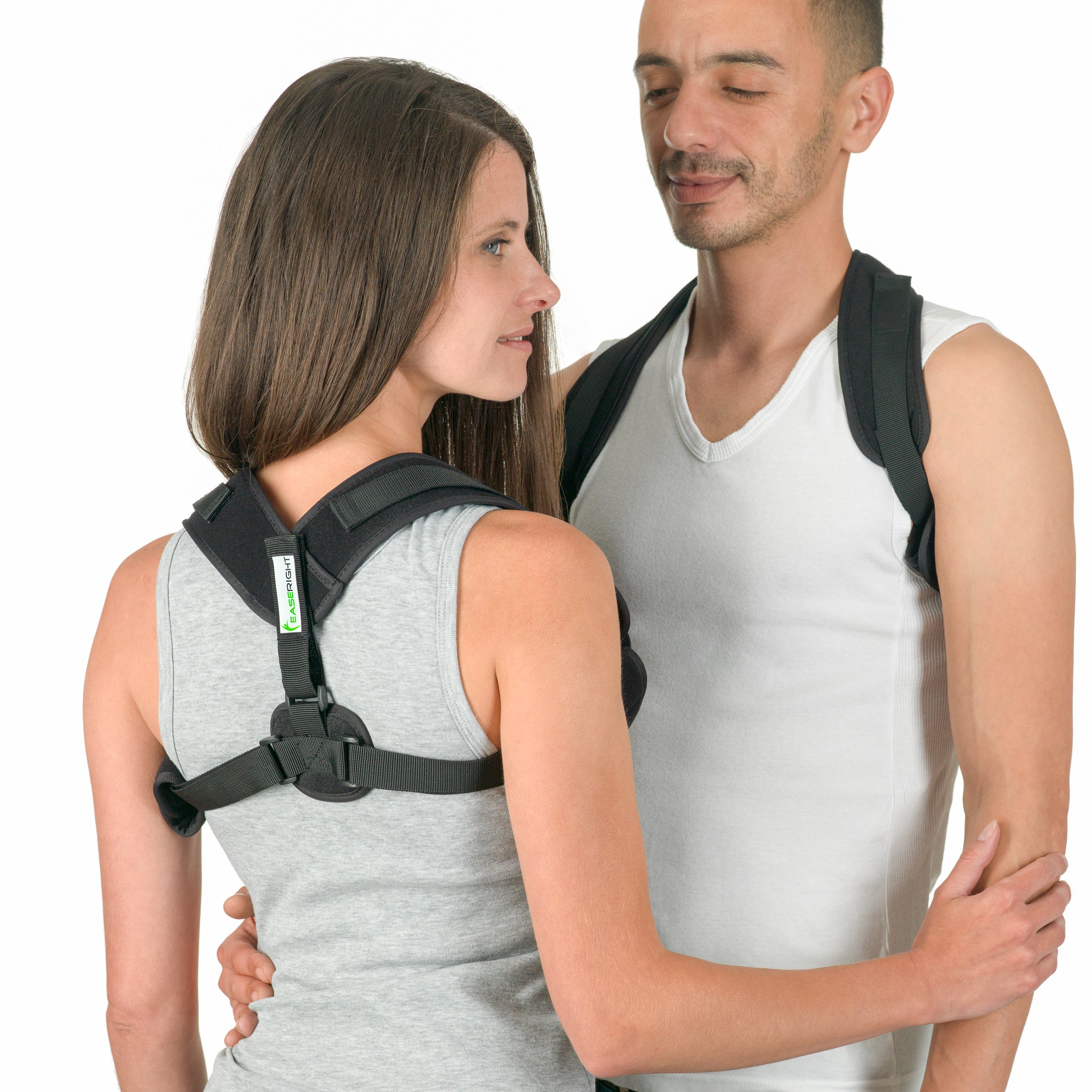 Posture Corrector for Women and Men - by EaseRight - Easy Adjustable Brace - Discreet and Comfortable Under Clothes - Smart Reminder Device to Keep The Back and Neck Straight