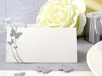 EinsSein 50x Tischkarten Hochzeit Liebesfalter silber Hochzeit, Tischkarten, Platzkarten, Namenskarten, Herz Schmetterling Stuhl Rosen Ringe