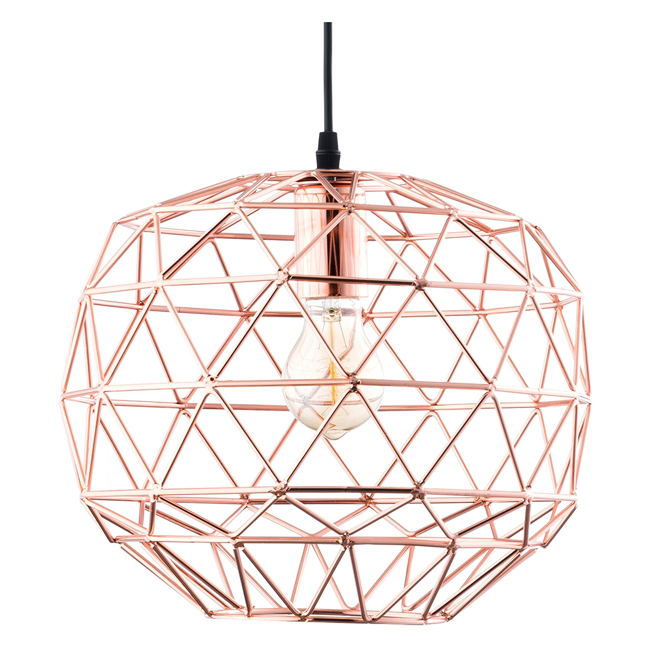 Light Society Caffrey Geometric Pendant Light, Rose Gold, Modern Industrial Lighting Fixture (LS-C135)