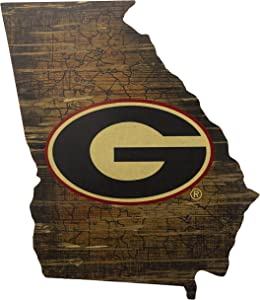 "Fan Creations NCAA Georgia Bulldogs 19"" x 23"" State Cutout with Logo Wood Sign"