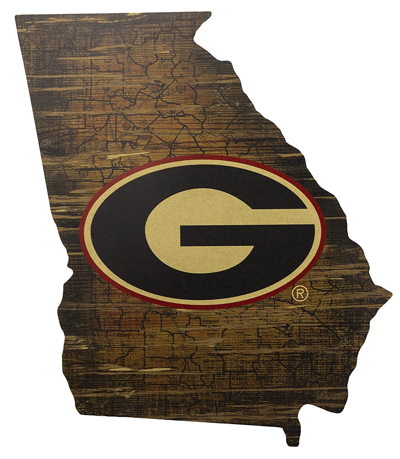 Fan Creations NCAA Georgia Bulldogs 19 x 23 State Cutout with Logo Wood Sign