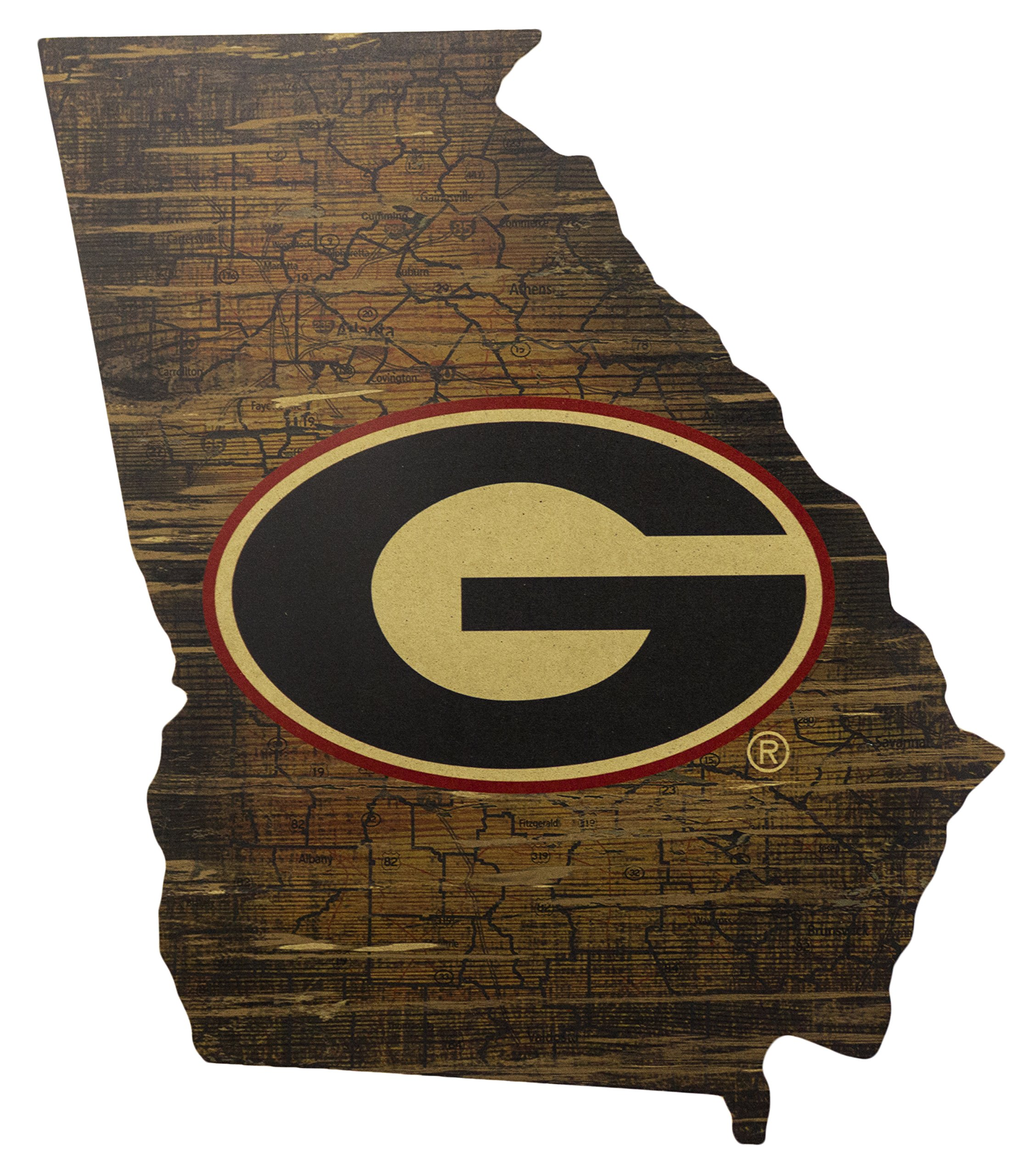 Fan Creations NCAA Georgia Bulldogs 19'' x 23'' State Cutout with Logo Wood Sign by Fan Creations