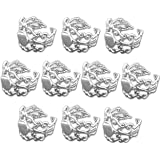 Find-Its - Findings For Fused 10-Piece Adjustable Filigree Rings, Silver Plated