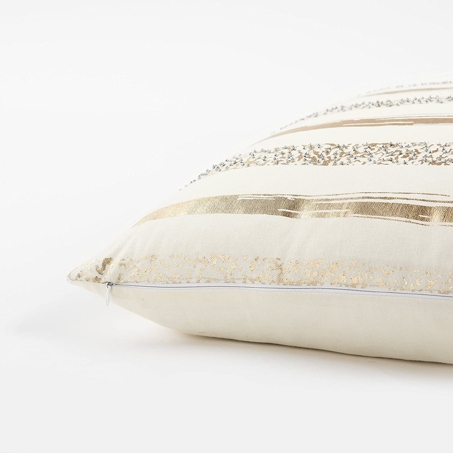 White Rizzy Home T13304 Decorative Poly Filled Throw Pillow 20 x 20 Silver