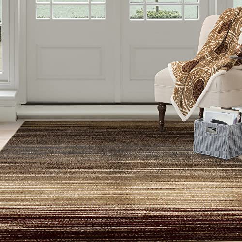 Bedford Home Opus Dark Abstract Stripes Area Rug, 8 x 10 , Cream