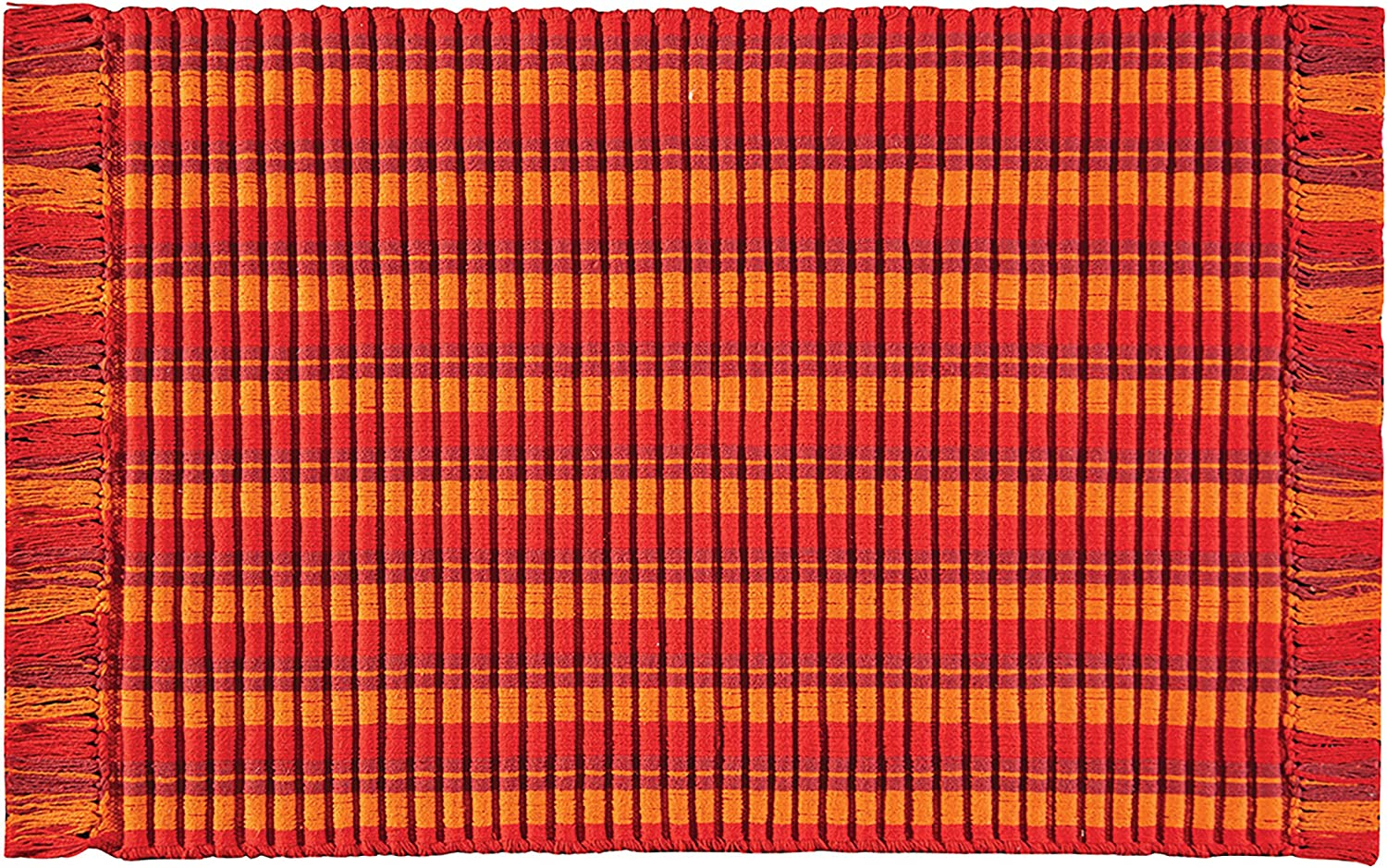 C&F Home Ribbed Fiesta Summer Cookout Spring Latin Party Red Orange Handcrafted Premium Decorative Woven Area Rug 2'x3' Red