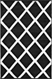 Green Decor Diamond Lightweight Indoor/Outdoor Reversible Plastic Rug, Black/White, 3 ft x 5 ft (90 cm x 150 cm)