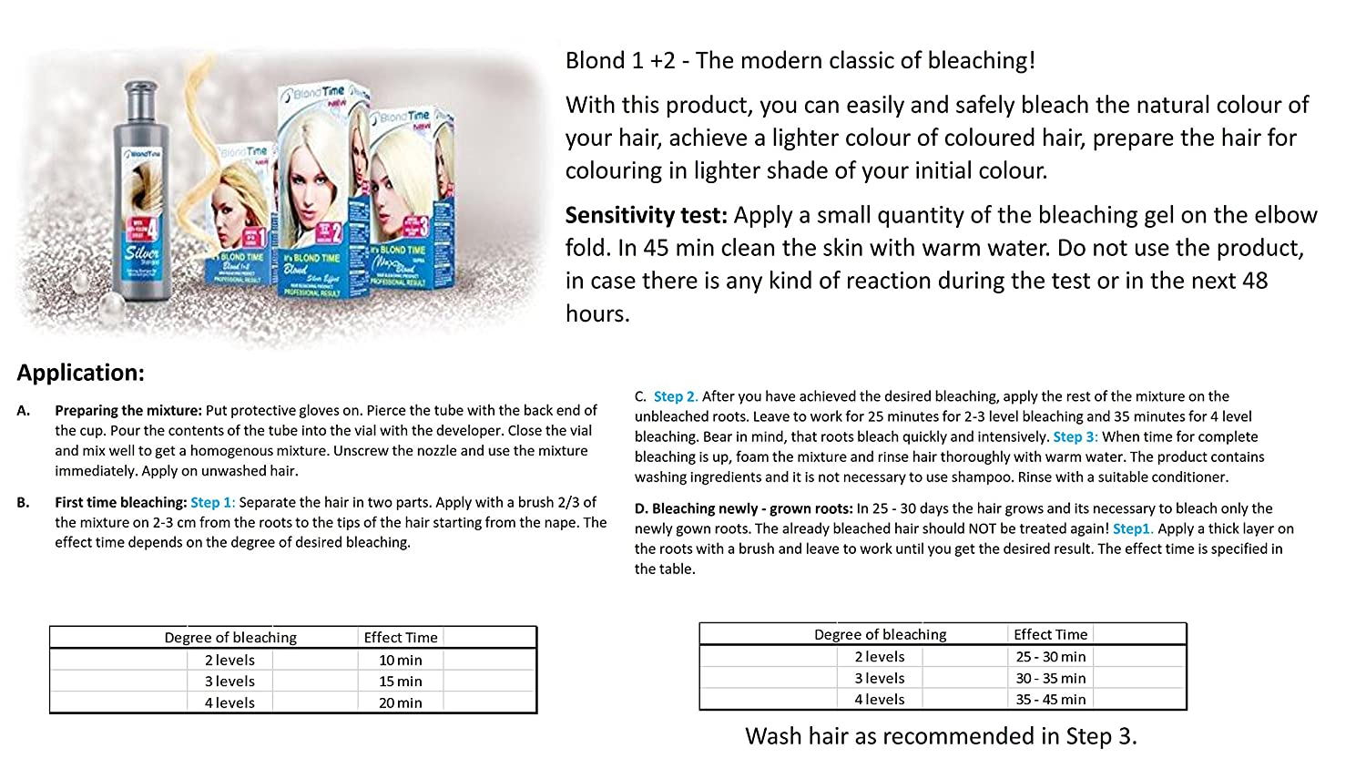 Blond Time - Hair Bleaching Product Blond 1+2 Rosa Impex