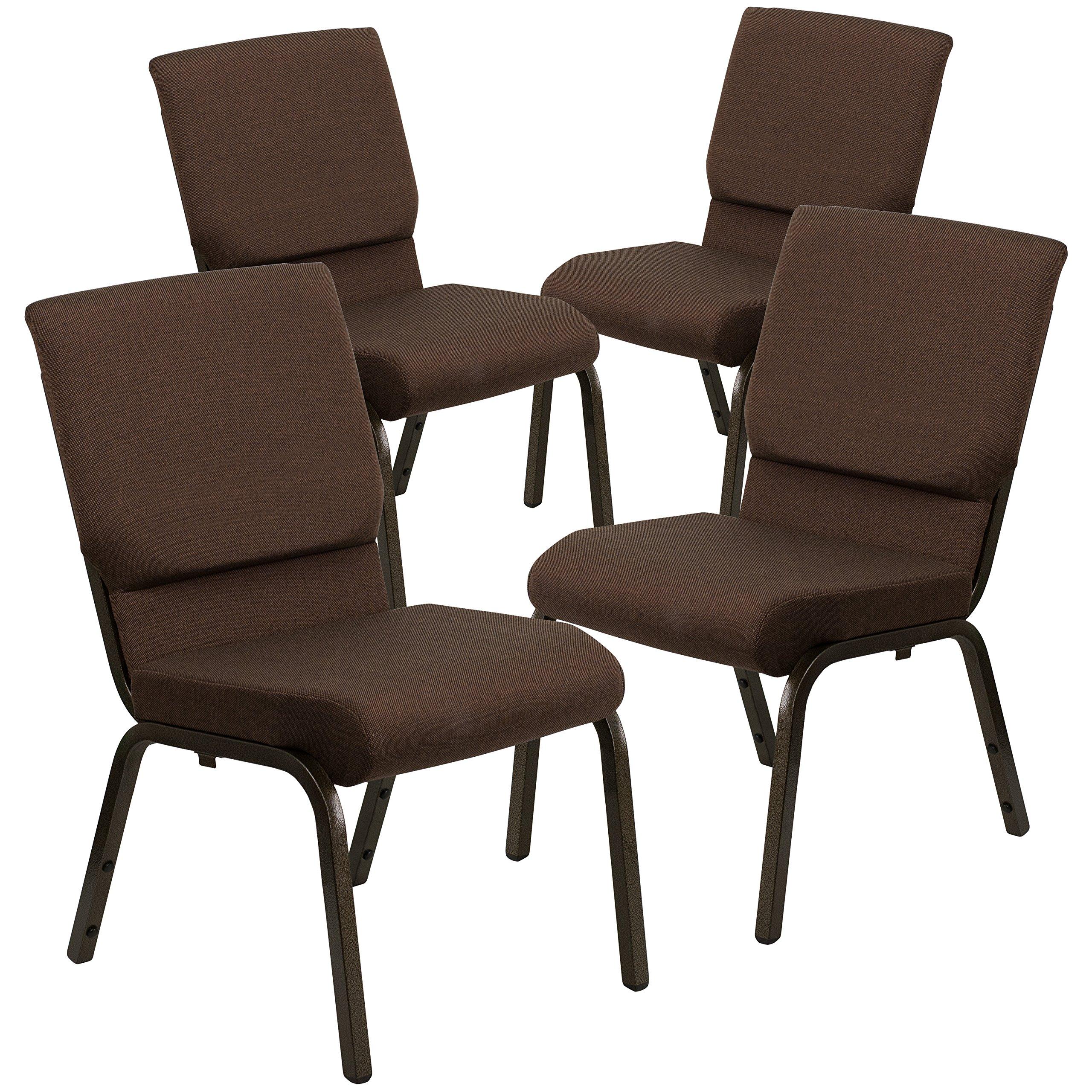 Flash Furniture 4 Pk. HERCULES Series 18.5''W Stacking Church Chair in Brown Fabric - Gold Vein Frame