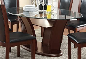 Furniture of America Okeho Contemporary Oval Glass-Top Dining Table