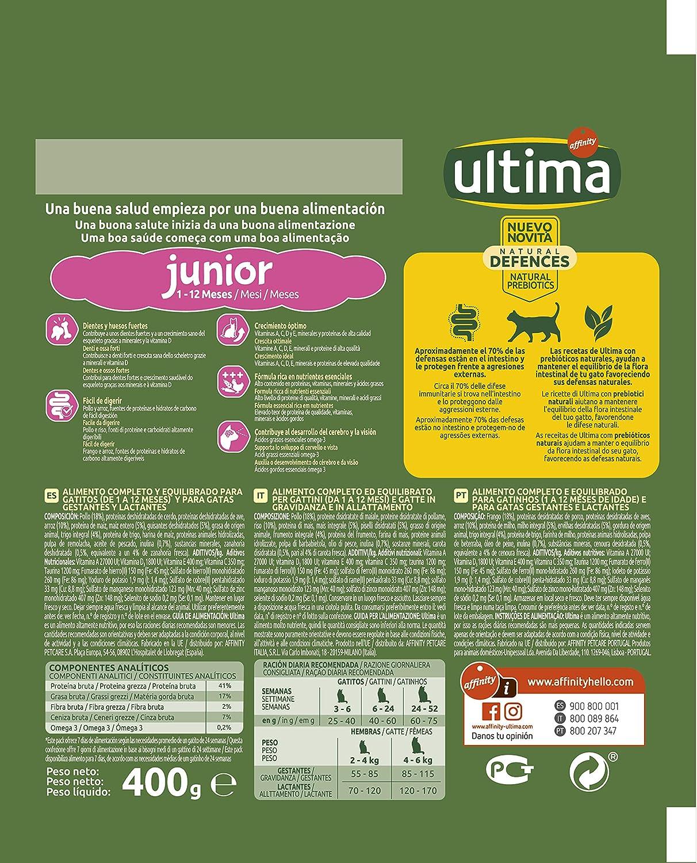 ultima Pienso para Gatos Junior de 2 a 12 Meses con Pollo, Pack de 6 x 400 gr - Total 2.4 kg