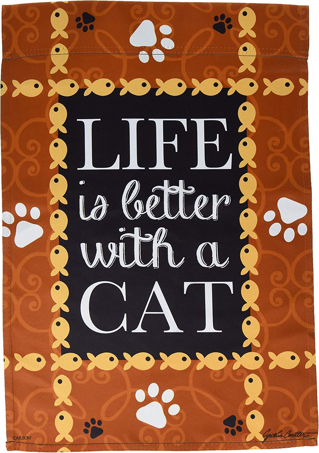Carson Home Accents FlagTrends 46791 Life is Better with A Cat Classic Outdoor Garden Flag