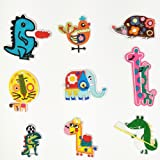 Greentime Iron on Patches Assorted Cool Jackets Patches Fabric Embroidered Patches Motif Applique Kit 9 Pcs, Lovely Aminals