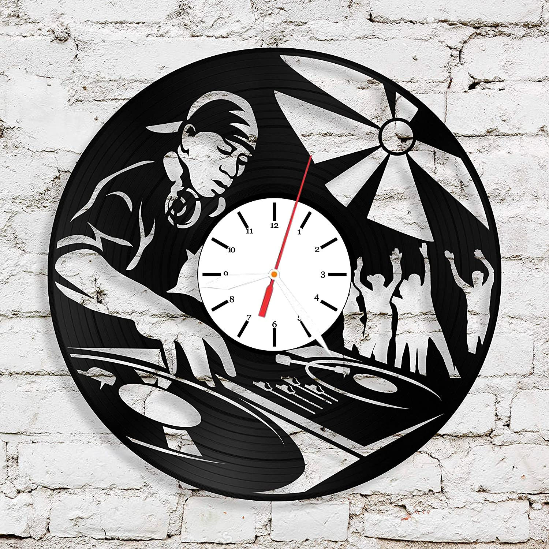 Amazon com: DJ Clock Wall Clock DJ Vinyl Record Clock Cool
