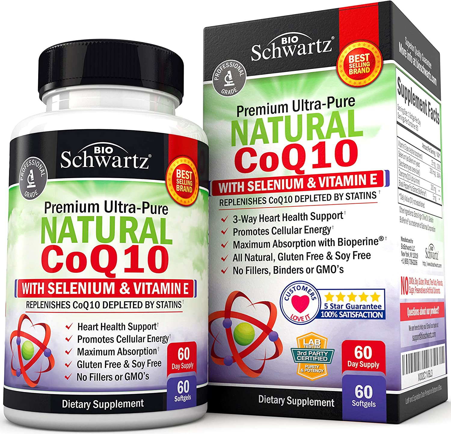 Natural CoQ10 200mg Supplement - with Selenium & Vitamin E for Cardiovascular, Cellular & Muscular Health Support - Promotes Protection from Oxidative Stress - with BioPerine for Maximum Absorption