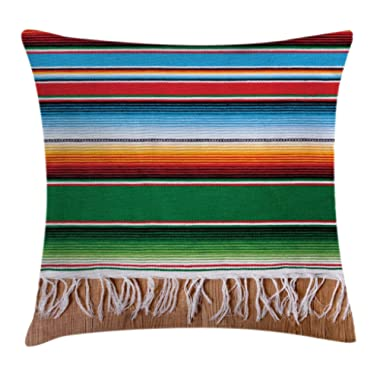 Ambesonne Mexican Decorations Throw Pillow Cushion Cover by, Boho Serape Blanket with Horizontal Stripes and Lines Authentic Picture, Decorative Square Accent Pillow Case, 16 X 16 Inches, Multi